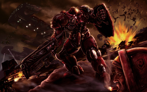 landing, Power Armor, weapon, Zerg, battle, Ships, shots, Explosions