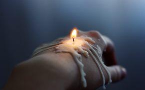 mano, spazzola, candela, fuoco, cera, stoppino