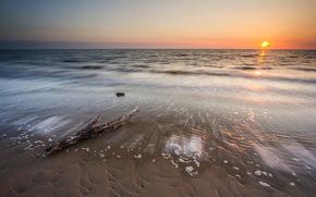 sea, sunset, coast, landscape