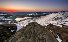 Mountains, sunset, nature, landscape