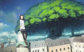 Art, city, tower, tree, giant, girl, spire