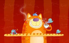 кот, чай, хлеб, франция, рисунок, завтрак, птицы, кофе, улыбка