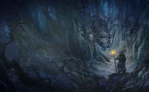 арт, властелин колец, пещера, гендальф, маг, паук, паучиха, монстр, посох, шляпа