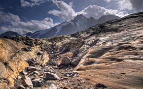 скалы, горы, камни, валуны, снег, облака