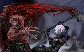 Art, elf, hammer, weapon, monster, daemon, battle