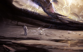 Art, man, surface, Lightning, armor