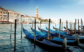 Venice, Italy, channel, sea, water, Gondola, wharf