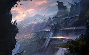 арт, фантастический мир, город, гора, скала, люди