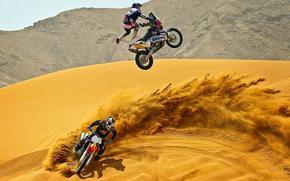 motocykle, pustynia, piasek, motocross, garnitur, kask
