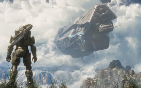 Halo 4, game, Spartan, Master Chief space, ship, Pillar Of Autumn, clouds, Mountains