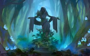 sculpture, girl, Flowers, forest, darkness, desolation