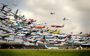 аэропорт, самолеты, взлет