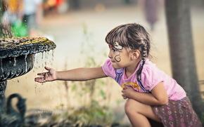 girl, fountain, mood
