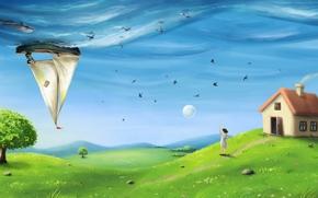 Arte, surrealismo, campo, erba, casa, ragazza, nave, pesce, delfino, cielo, mare, albero, Hills, Uccelli, istioforo, luna