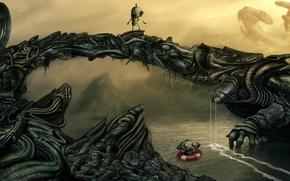 арт, роботы, металл, труба, река, вода, спасательный круг