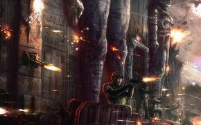 Arte, ilustracin del libro, episodio, batalla, personas, Arma, disparos, proteccin, fortaleza, fuerte, Soldados