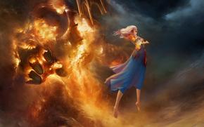 ragazza, magia, levitazione, fiamma, Elementare, nuvole