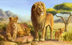 Arte, Lions, leone, leonessa, Predators, gatti, selvatico, savana, famiglia, pietre, albero, cucciolo, giovane leone