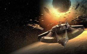 космос, корабли, планета, звезды