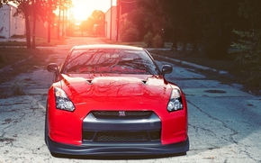 Nissan, GAD, red, front, inscription on the windshield, sunset, nissan