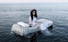 девушка, море, невеста, ситуация
