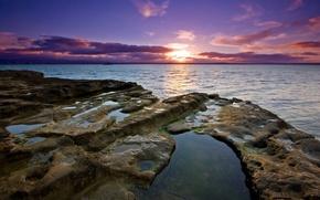 sea, stones, sunset, sun, sky, clouds