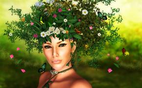 nature, girl, Flowers, Butterflies, pollen