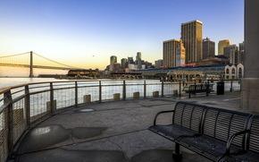 city, river, bridge