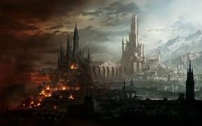Art, city, castle, Fantasy, light, Mountains, destruction, Lightning, fire, bridge