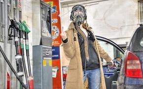 girl, gas station, situation