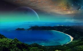 Море, лагуна, залив, горы, планета, небо