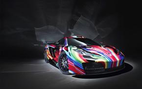 McLarencherny, fondo, arco iris, coches, Maquinaria, Coche