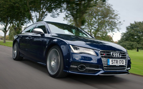 Audi, S7, sportback, blue, sedan, road, Trees, cars, machinery, Car