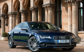 Audi, S7, building, blue, cars, machinery, Car