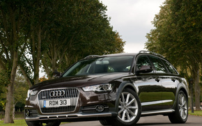 Audi, A6, allroad, Touring, Trees, cars, machinery, Car