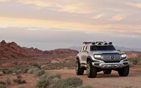 Mercedes-Benz, Ener-G-Force, desierto, puesta del sol, coches, Maquinaria, Coche
