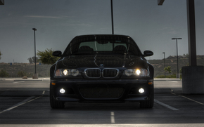 BMW, dark blue, front, lights, parking, lights, bmw