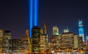 бруклин, сша, нью-йорк, город, ночь, мегаполис, огни, луч, прожектор, небоскребы