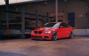 BMW, red, building, door, blue, metal supports, bmw