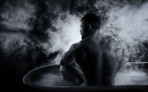 man, Bath, background