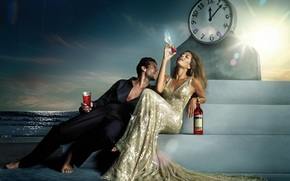 Eva Mendes, Campari, actress, woman, man, watch