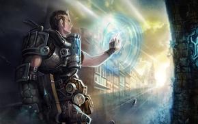 Art, guy, wall, portal, hand, weapon, armor, city