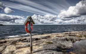 море, небо, спасательный круг, пейзаж