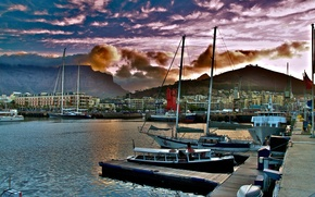 city, Capetown, South Africa, wharf, Ships, clouds