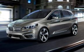 BMW, Tourer attivo, Concetto, anteriore, citt, notte, sfondo, BMW