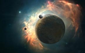 Art, space, planet, satellites, nebula, Star, glow, energy