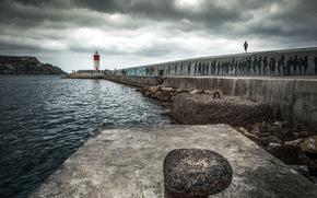 lighthouse, wharf, landscape