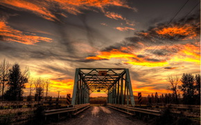 notte, ponte, paesaggio