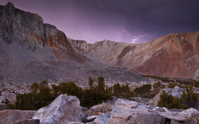 Mountains, lightning, night