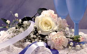 Flowers, bouquet, goblet, tape, rose, carnation